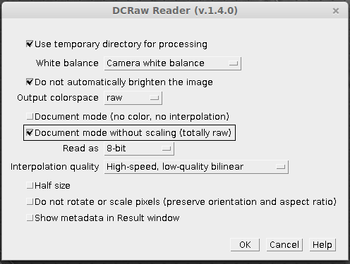 DCRaw settings